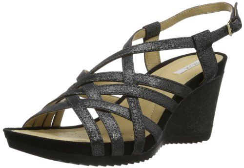 Geox Women's D New Roxy Ee Fashion Sandals Black Noir (Black B) 4 (36.5 EU)