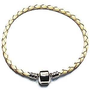 Charm Buddy 18cm Beige Cream Leather Ladies Womens Charm Bracelet Fits Pandora Charm Beads Jewellery