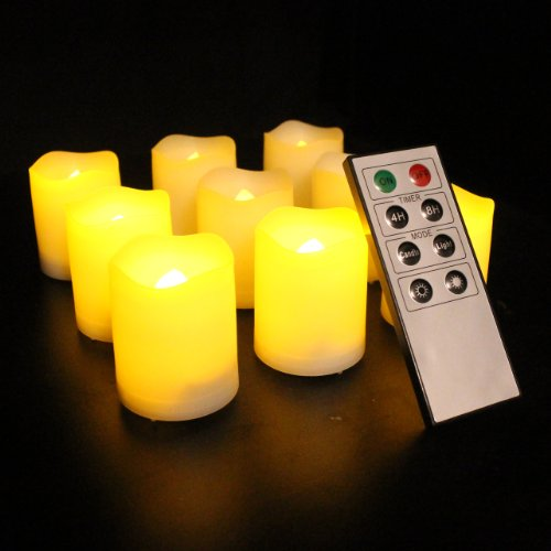 Frostfire Mooncandles - 9 Indoor and Outdoor Votive Candles with Remote Control & Timer (Batteries Included)
