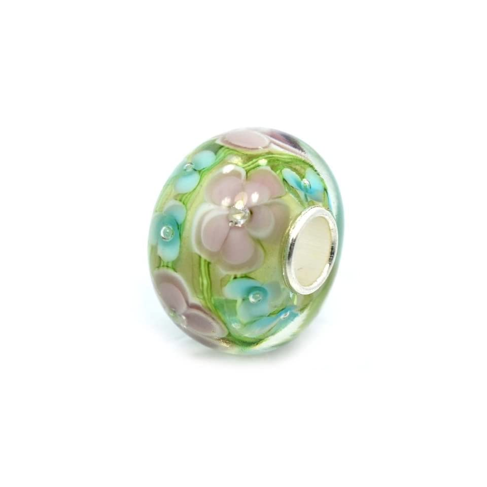 Pro Jewelry .925 Sterling Silver Glass Larger Size Green / Pink & Blue Flowers (Crystals Inside Glass) Charm Bead for Snake Chain Charm Bracelets 5711