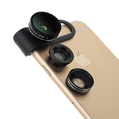 Patuoxun 3 in 1 Clip-On 180 gradi Suprema Fisheye + 0.65x grandangolare II + Macro Lente Camera Foto Kit per Apple iPhone 6/6 Plus, iPhone 5 5S 4 4S, iPad Air 2/1, iPad 4 / 3/2, Mini iPad 3/2/1, Tablet PC, Notebook, Samsung Galaxy S5 / S4 / S3, Galaxy Note 4/3/2, Blackberry Bold touch, Sony Xperia, Motorola Droid e altri telefoni intelligenti (Nero)