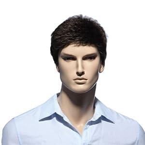 Troadzwig Brown Short Straight Hair Natural Wigs for men male Kanekalon Fiber Synthetic by Karuisi Factory