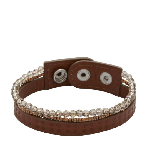 Fossil Ladies' Leather/Stainless Steel Braceled with Swarovski Bronze Pearls