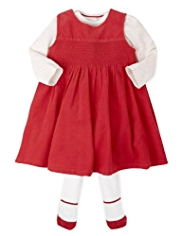 3 Piece Autograph Cotton Rich Corduroy Pinafore, Bodysuit & Tights Outfit