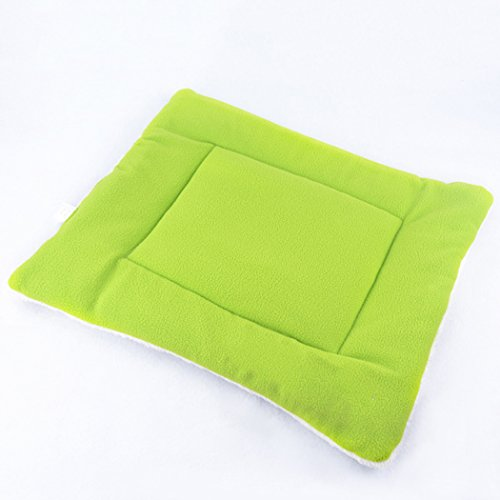 DKX Small Size Coral Fleece Air-condition Mat Cushion Dog Pet Cat Bed House Sleeping Mat-Green