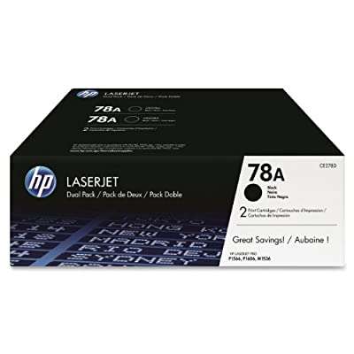 HP 78A (CE278D) Black Original LaserJet Toner Cartridges, 2 pack