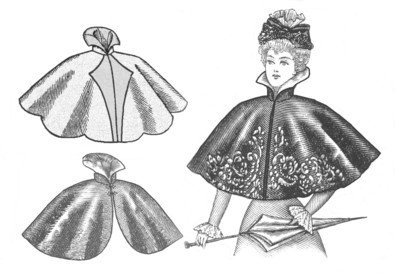 Victorian Wraps, Capes, Shawl, Capelets  1890s Victorian Cape Pattern                               $11.50 AT vintagedancer.com