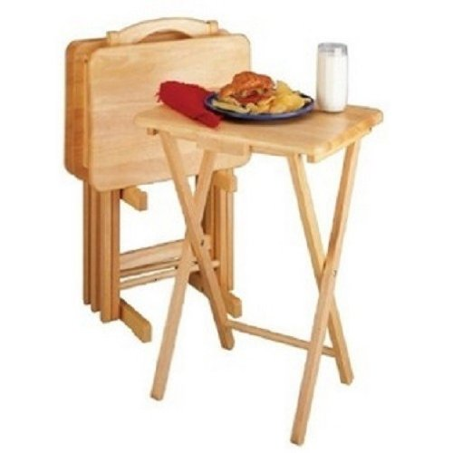5 Piece TV Tray Snack Dinner Folding Table Set (Folding Tray Table Stand compare prices)