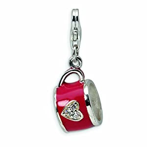 Sterling Silver 3-D Enameled and CZ Cup with Lobster Clasp Charm