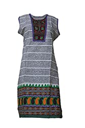 Tulip Collections Women's Cotton Embroidered Kurti (Purple)