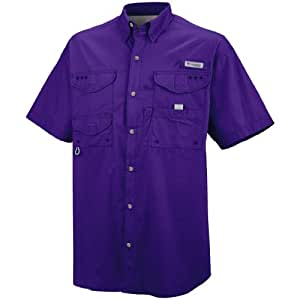 Columbia Bonehead Short Sleeve Collared Shirt - Medium - Purple