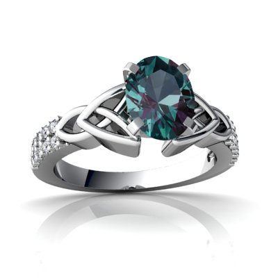 14ct White Gold Oval Alexandrite Ring
