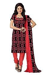 Khushali Presents Crepe Dress Material(Black,Red)