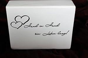 casablanca spardose herz mit schriftzug hand in hand ein leben lang geldgeschenk f r hochzeit. Black Bedroom Furniture Sets. Home Design Ideas