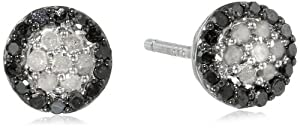 Black Rhodium Plated Sterling Silver Black and White Diamond Cluster Stud Earrings (.25 Cttw, H-I Color, I3 Clarity)