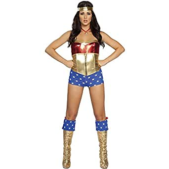 Roma Costume 3 Piece Comic Book Heroine Costume, Red/Blue/Gold, Small/Medium