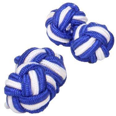 Royal Blue & White Silk Knot Cufflinks - Cuffs & Co