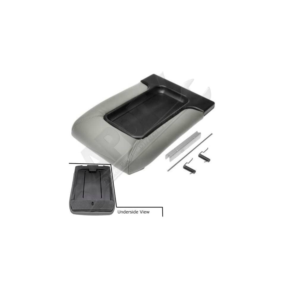APDTY 035924 Center Console Hinge & Faux Leather Lid Armrest Kit Light Gray Color Fits 2001 2007 Silverado or Sierra 07 Classic 01 06 Escalade Avalanche Suburban Tahoe Yukon (Replaces 19127365)