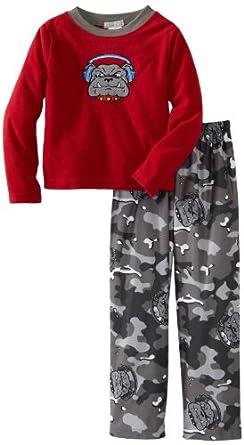 Komar Little Boys' Big Dog Camo Pajama 2 Piece Set, Gray, 4/5