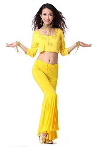 Feimei Belly Dance Costume Set with Top and Large Bell-bottoms Pants