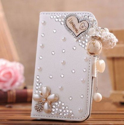Green Fashion(TM) For Samsung Galaxy S5 I9600 Mobile Phone Case Lady Wallet case with 3D bling Rhinestone Card Holder & Magnetic Flip Horizontals - I Loveyou Pearl Flower