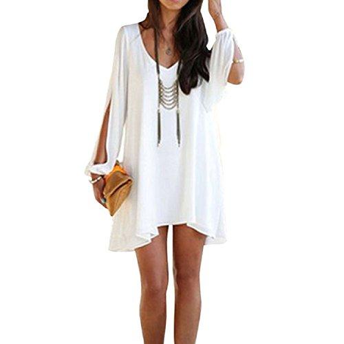 Sannysis(Tm) Loose White Sexy Fashion Casual Dress (8-10)