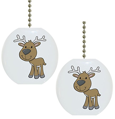 Set of 2 Baby Deer Reindeer Wildlife Solid Ceramic Fan Pulls (Wildlife Fan Pull compare prices)