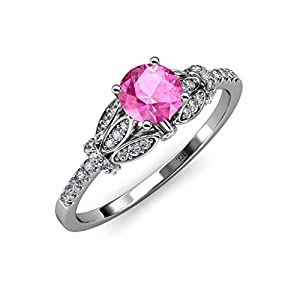 Pink Sapphire and Diamond (SI2-I1, G-H) Engagement Ring 1.23 ct tw in 14K White Gold.size 7