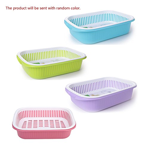 Plastic Kitchen Vegetable Fruit Washing Draining Basket Organizer with Double Layer Dish Cup Rack Kitchen Basket Storage