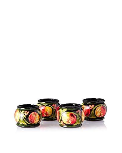 April Cornell Set of 4 Apple Napkin Rings, Black