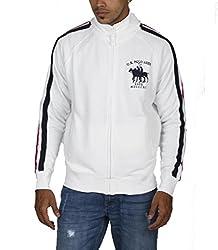 US POLO ASSOCIATION Men's Poly Cotton Sweatshirt (USSS0190_White_Small)