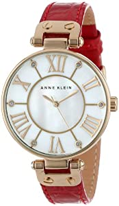 Anne Klein Women's AK/1396MPRD Gold-Tone and Red Leather Watch