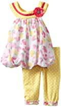 Nannette Baby-girls Infant 2 Piece Flower Legging Set, Yellow, 18 Months