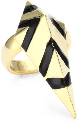 nOir Geo Clash Enamel Double Dart Ring, Size 8