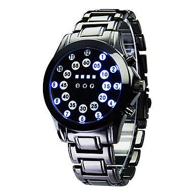 Fenkoo Da uomo Orologio sportivo Digitale LED / Calendario / Nottilucente Acciaio inossidabile Banda Orologio da polso Nero