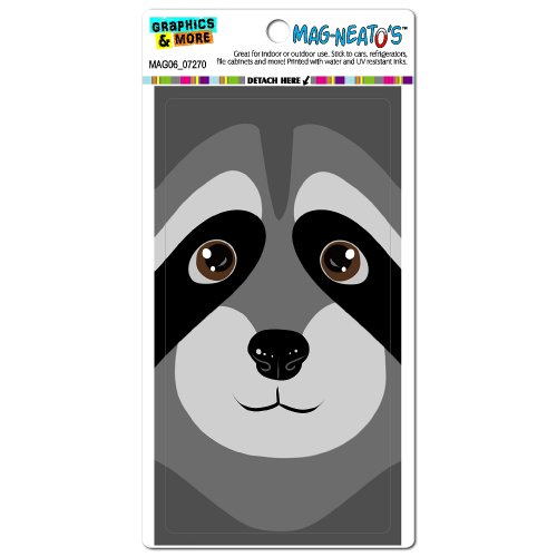 Graphics And More Raccoon Cute Full Face Mag-Neato'S Automotive Car Refrigerator Locker Vinyl Magnet front-616873