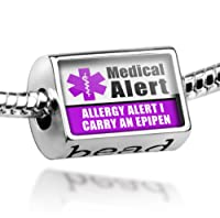 "Neonblond Beads Medical Alert Purple ""Allergy Alert 1 Carry an Epipen"" - Fits Pandora Charm Bracelet from NEONBLOND Jewelry & Accessories"