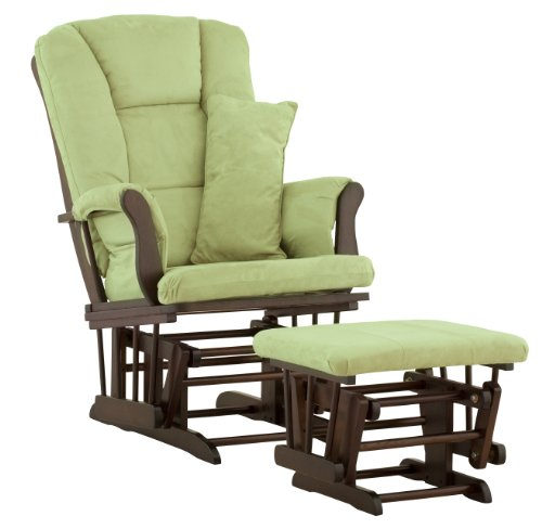 Stork Craft Custom Tuscany Espresso Finish Glider and Ottoman with Free lower lumbar pillow, Sage Cushions
