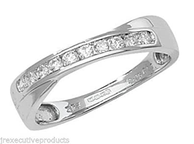 9ct White Gold Diamond Cross Over Half Eternity Ring 0.25ctw size G - W