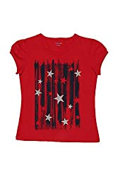 Poppers by Pantaloons Girl's Crew Neck T-Shirt (205000005621487, Red, 7-8 Years)