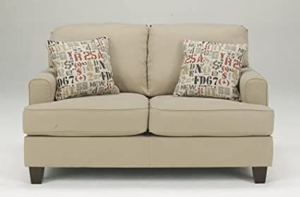 Benchcraft 1600035 Deshan Loveseat with Set-Back Track Arms Box Seat Cushions and Plush Pillow Back in
