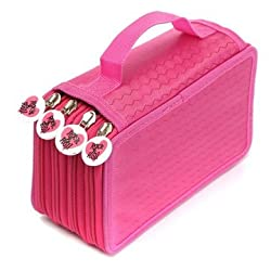 Pen Pencil Case Cosmetic Travel Cosmetic Brush Makeup Storage Bags Pouch Box - Rose Red