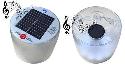 Bluetooth Speaker Waterproof Solar Powered Inflatable LED Lantern Light ALL IN ONE