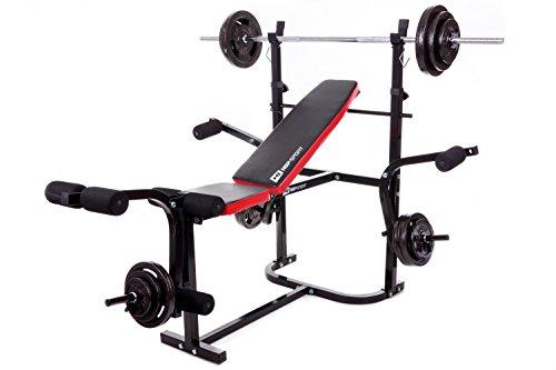 Hop-Sport Hantelbank HS-1055 mit Butterfly und Beincurler Inkl. Guss Gewichte 61 kg - 129 kg zur Wahl Lang- , Curl- & Kurzhantelstange (84 kg, SZ-Curlhantel)
