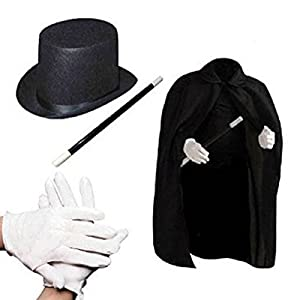 Dazzling Toys Children's Magician Set, Includes Hat, Cape, Gloves and Wand.