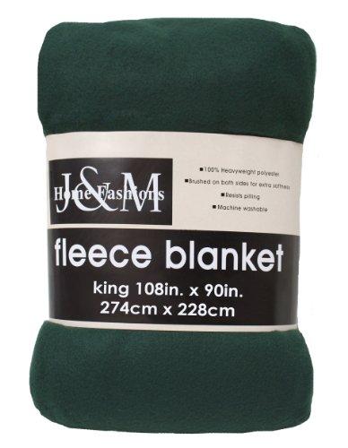J & M Home Fashions 108-Inch By 90-Inch Fleece Blanket, King, Dark Green