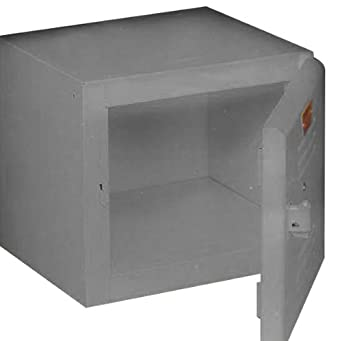 "Equipto 121212-GY Lockable Convenience Cube for Workcenters, 12"" L x 12"" W x 12"" H, Smooth Office Gray"