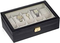 Leather 10 Watch Box w Glass Top Black