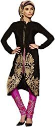 Kashmira Women's Faux Georgette Embroidered Unstitched Salwar Kameez (kas-mask-rep_Black And Pink_Free Size)