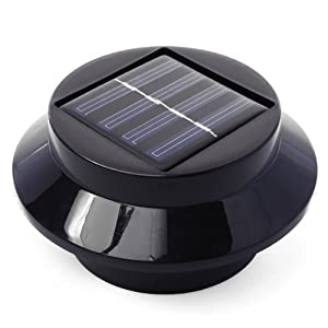 Xcellent Global 3 LED Solar Powered Energy Saving Fence Gutter Light Outdoor Garden Wall Lobby Pathway Lamp Black M-LD012 by EU Xcellent Global